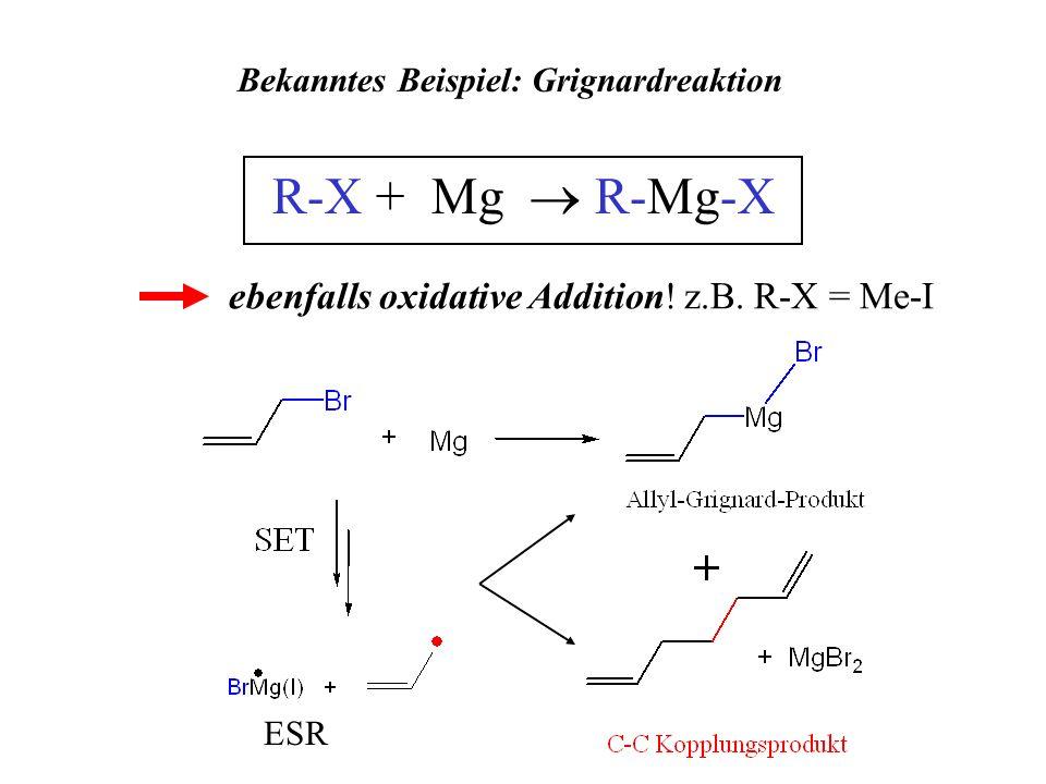 Bekanntes Beispiel: Grignardreaktion R-X + Mg R-Mg-X ebenfalls oxidative Addition! z.B. R-X = Me-I ESR