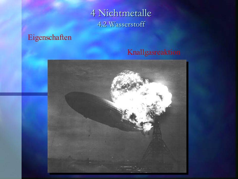 4 Nichtmetalle 4.2 Wasserstoff Knallgasreaktion Eigenschaften