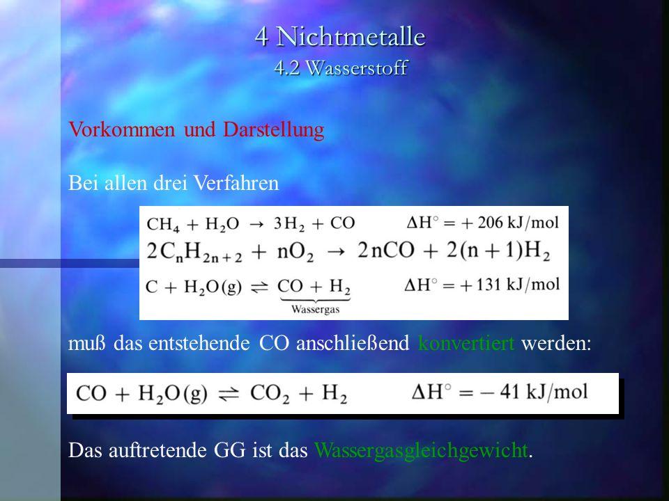 4 Nichtmetalle 4.2 Wasserstoff Vorkommen und Darstellung Bei allen drei Verfahren muß das entstehende CO anschließend konvertiert werden: Das auftrete