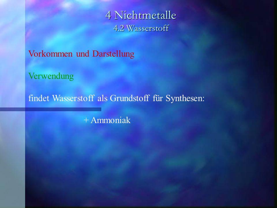 4 Nichtmetalle 4.2 Wasserstoff Vorkommen und Darstellung Verwendung findet Wasserstoff als Grundstoff für Synthesen: + Ammoniak