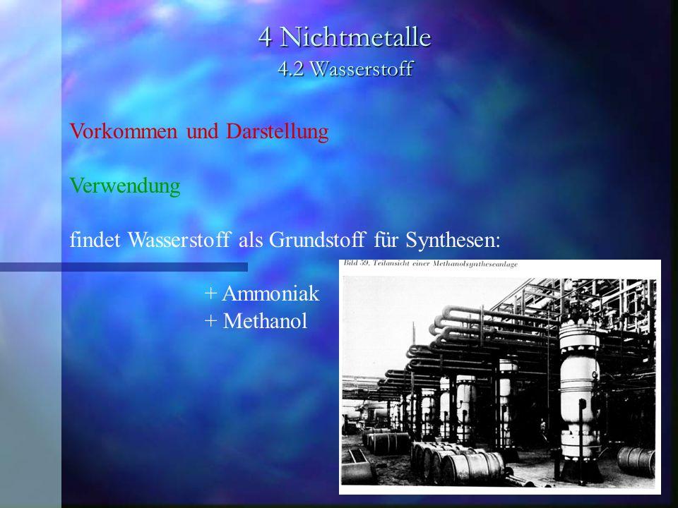 4 Nichtmetalle 4.2 Wasserstoff Vorkommen und Darstellung Verwendung findet Wasserstoff als Grundstoff für Synthesen: + Ammoniak + Methanol