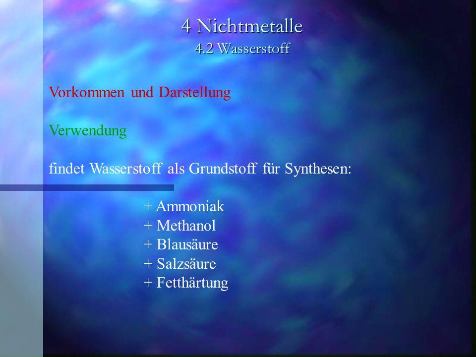 4 Nichtmetalle 4.2 Wasserstoff Vorkommen und Darstellung Verwendung findet Wasserstoff als Grundstoff für Synthesen: + Ammoniak + Methanol + Blausäure