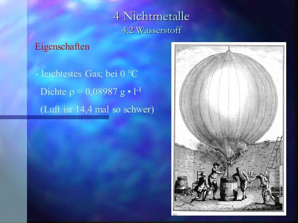 4 Nichtmetalle 4.2 Wasserstoff - leichtestes Gas; bei 0 °C Dichte = 0,08987 g l -1 (Luft ist 14,4 mal so schwer) Eigenschaften
