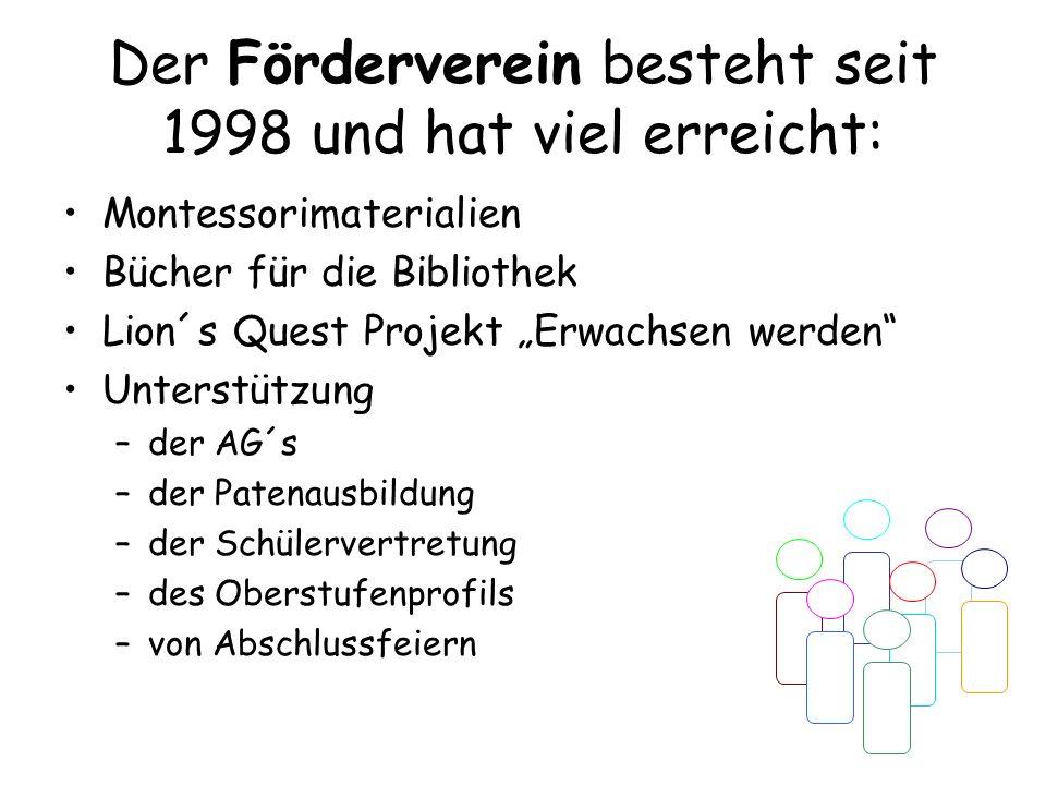 Der Förderverein besteht seit 1998 und hat viel erreicht: Montessorimaterialien Bücher für die Bibliothek Lion´s Quest Projekt Erwachsen werden Unterstützung –der AG´s –der Patenausbildung –der Schülervertretung –des Oberstufenprofils –von Abschlussfeiern