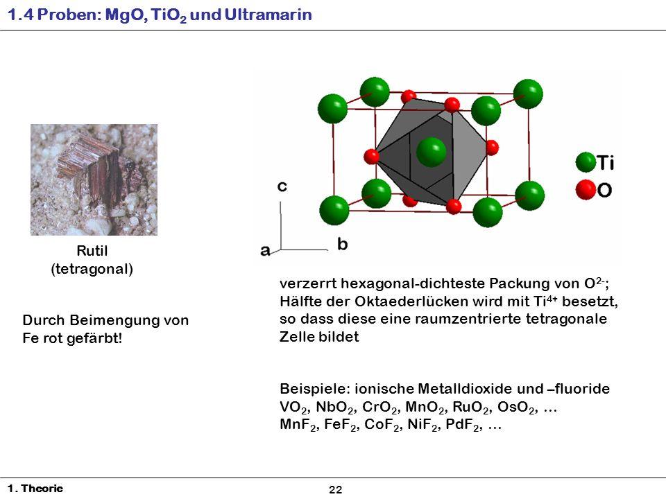 Rutil (tetragonal) verzerrt hexagonal-dichteste Packung von O 2- ; Hälfte der Oktaederlücken wird mit Ti 4+ besetzt, so dass diese eine raumzentrierte tetragonale Zelle bildet Durch Beimengung von Fe rot gefärbt.