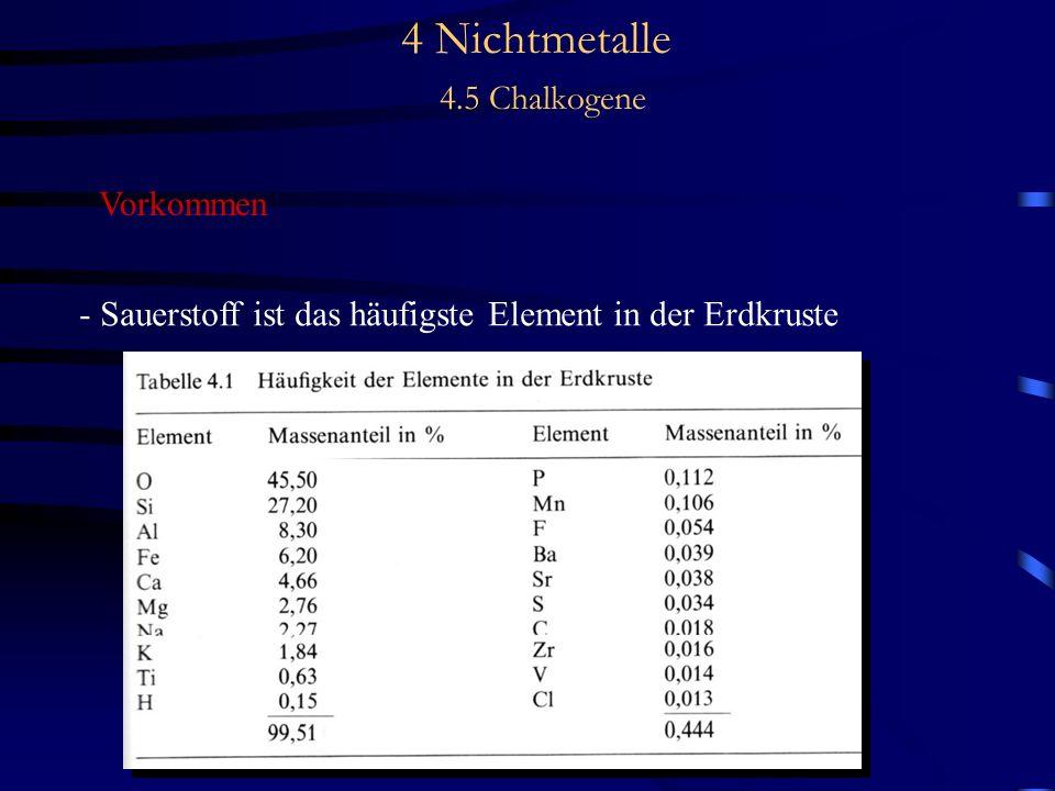 4 Nichtmetalle 4.5 Chalkogene Vorkommen - Sauerstoff ist das häufigste Element in der Erdkruste