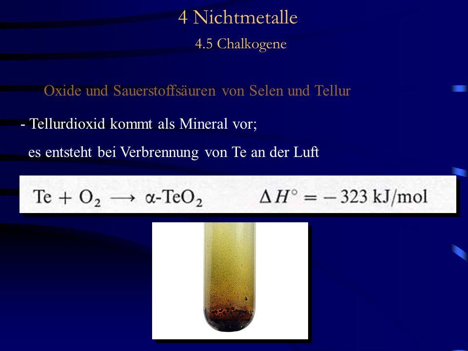 4 Nichtmetalle 4.5 Chalkogene Oxide und Sauerstoffsäuren von Selen und Tellur - Tellurdioxid kommt als Mineral vor; es entsteht bei Verbrennung von Te an der Luft