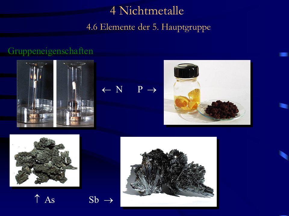 4 Nichtmetalle 4.6 Elemente der 5. Hauptgruppe Gruppeneigenschaften N P As Sb