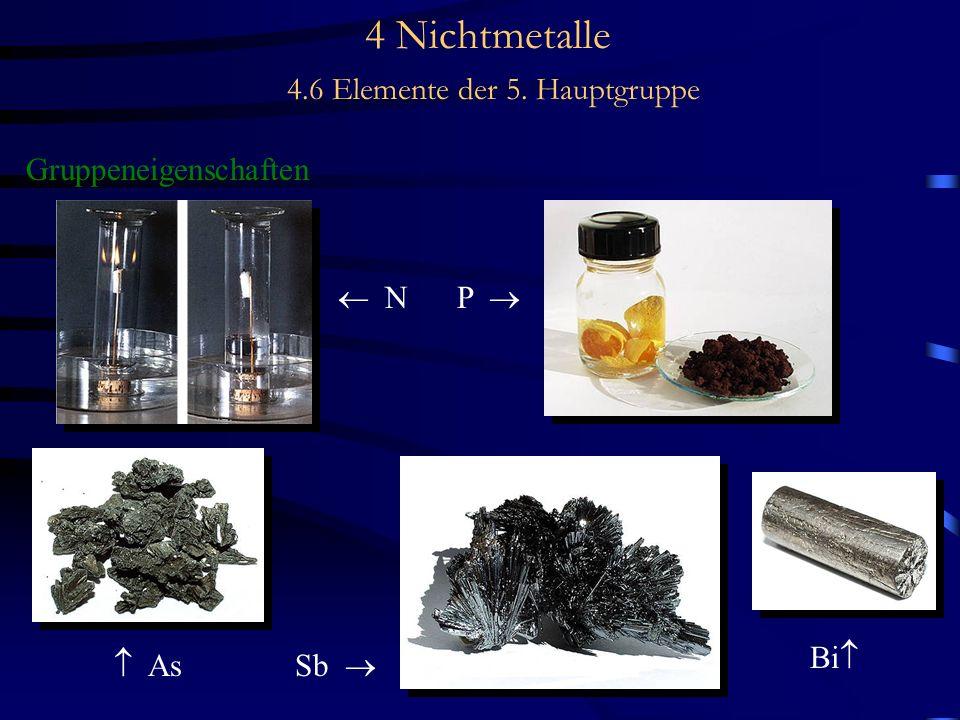 4 Nichtmetalle 4.6 Elemente der 5. Hauptgruppe Gruppeneigenschaften N P As Sb Bi