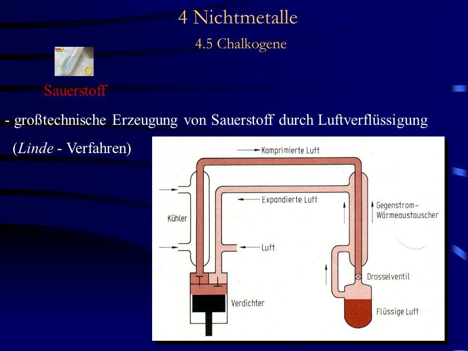 4 Nichtmetalle 4.5 Chalkogene Sauerstoff - großtechnische Erzeugung von Sauerstoff durch Luftverflüssigung (Linde - Verfahren)