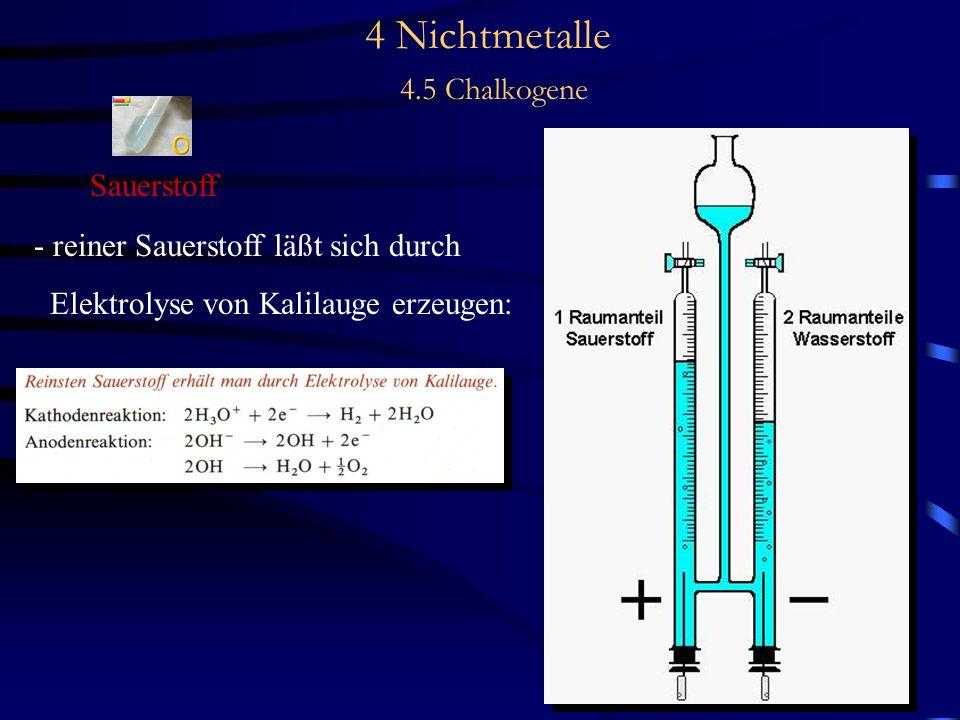 4 Nichtmetalle 4.5 Chalkogene Sauerstoff - reiner Sauerstoff läßt sich durch Elektrolyse von Kalilauge erzeugen:
