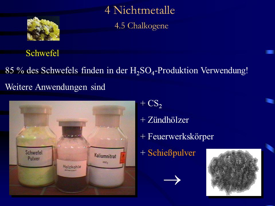4 Nichtmetalle 4.5 Chalkogene Schwefel 85 % des Schwefels finden in der H 2 SO 4 -Produktion Verwendung.