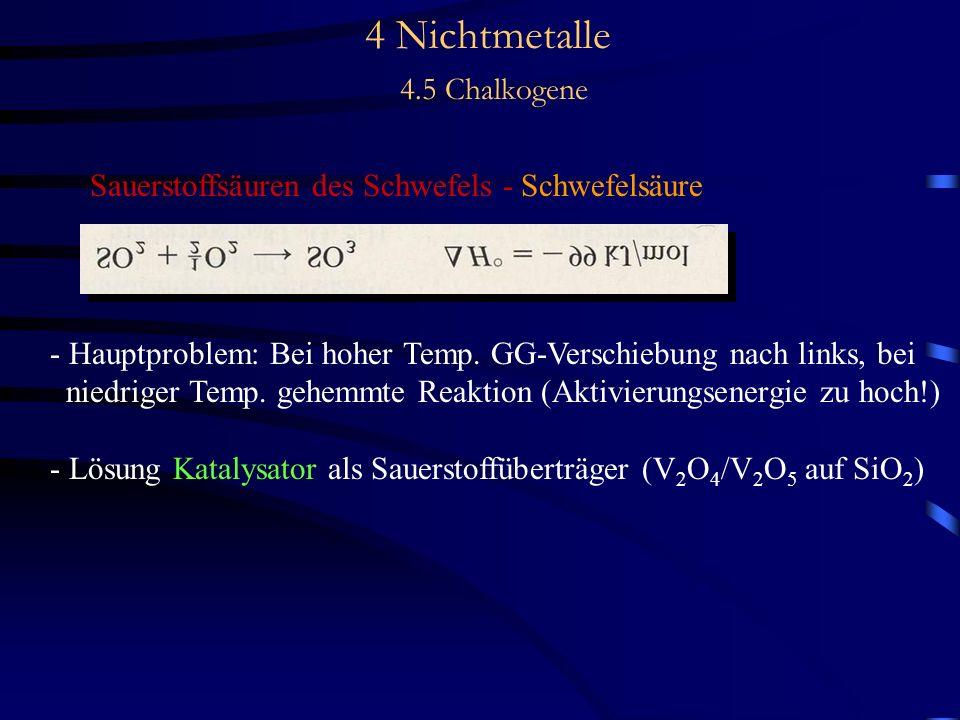 4 Nichtmetalle 4.5 Chalkogene Sauerstoffsäuren des Schwefels - Schwefelsäure - Hauptproblem: Bei hoher Temp.