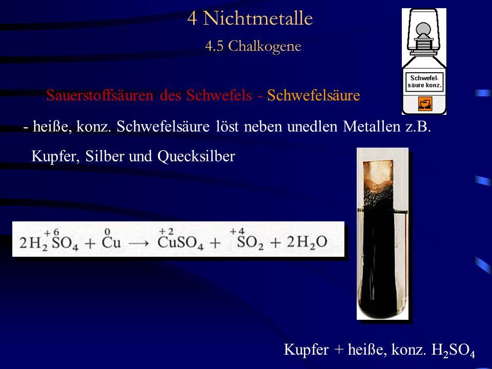 4 Nichtmetalle 4.5 Chalkogene Sauerstoffsäuren des Schwefels - Schwefelsäure - heiße, konz.