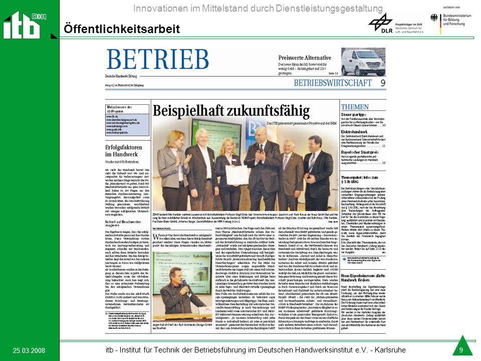 25.03.2008 itb - Institut für Technik der Betriebsführung im Deutschen Handwerksinstitut e.V. - Karlsruhe Innovationen im Mittelstand durch Dienstleis