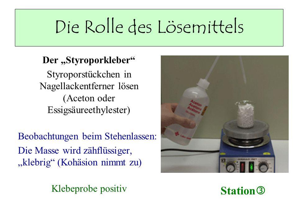 Die Rolle des Lösemittels Der Styroporkleber Styroporstückchen in Nagellackentferner lösen (Aceton oder Essigsäureethylester) Beobachtungen beim Stehe
