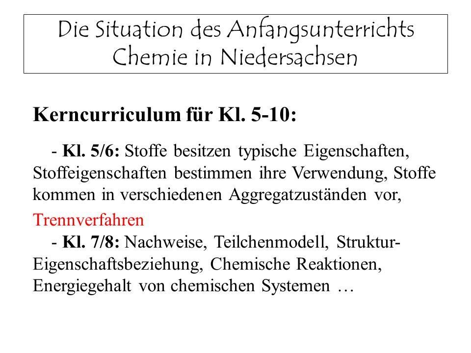 Die Situation des Anfangsunterrichts Chemie in Niedersachsen Kerncurriculum für Kl. 5-10: - Kl. 5/6: Stoffe besitzen typische Eigenschaften, Stoffeige
