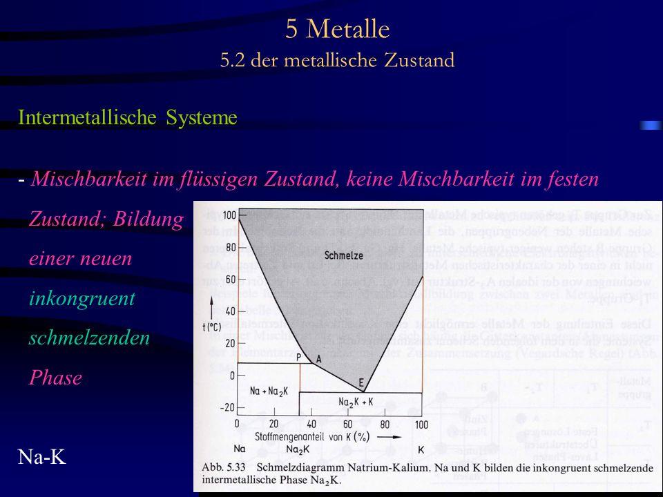 5 Metalle 5.2 der metallische Zustand Intermetallische Systeme - Mischbarkeit im flüssigen Zustand, keine Mischbarkeit im festen Zustand; Bildung eine