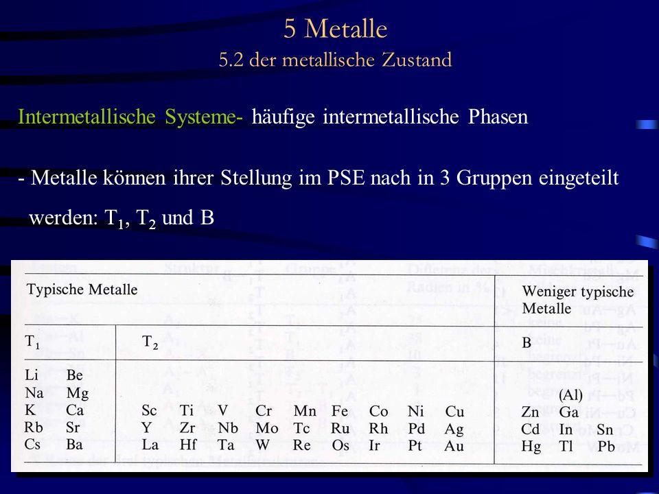 5 Metalle 5.2 der metallische Zustand Intermetallische Systeme- häufige intermetallische Phasen - Metalle können ihrer Stellung im PSE nach in 3 Grupp