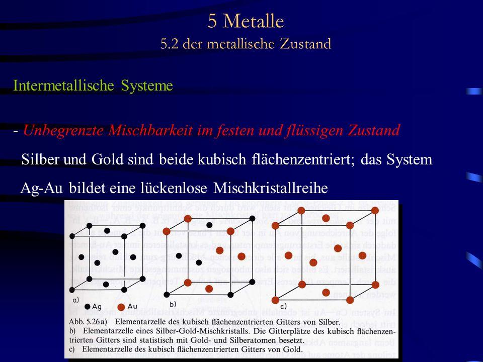 5 Metalle 5.2 der metallische Zustand Intermetallische Systeme - Unbegrenzte Mischbarkeit im festen und flüssigen Zustand Silber und Gold sind beide k