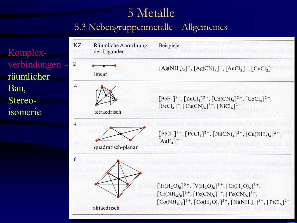 5 Metalle 5.3 Nebengruppenmetalle - Allgemeines Komplex- verbindungen - räumlicher Bau, Stereo- isomerie