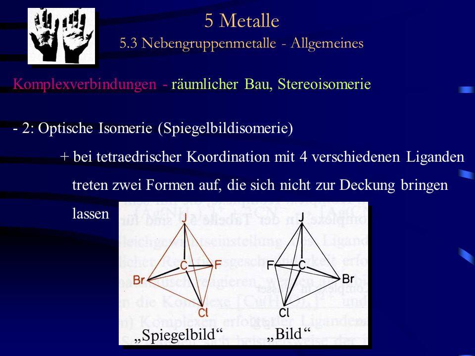 5 Metalle 5.3 Nebengruppenmetalle - Allgemeines Komplexverbindungen - räumlicher Bau, Stereoisomerie - 2: Optische Isomerie (Spiegelbildisomerie) + be