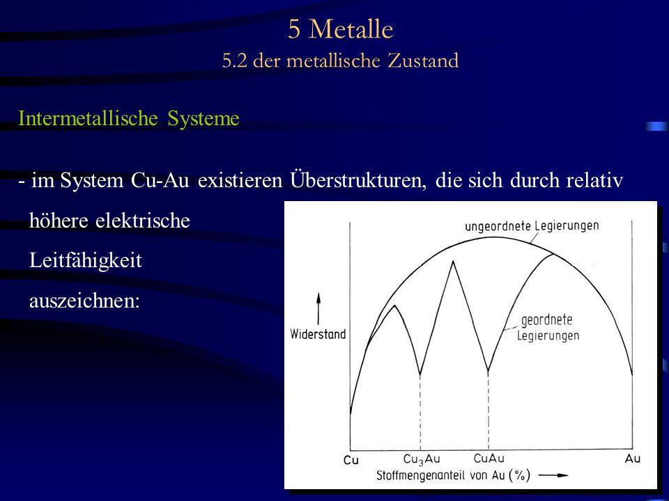5 Metalle 5.2 der metallische Zustand Intermetallische Systeme - im System Cu-Au existieren Überstrukturen, die sich durch relativ höhere elektrische