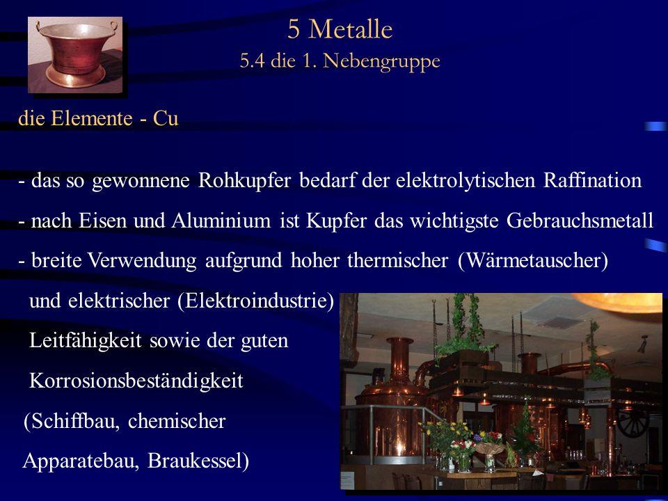 5 Metalle 5.4 die 1. Nebengruppe die Elemente - Cu - das so gewonnene Rohkupfer bedarf der elektrolytischen Raffination - nach Eisen und Aluminium ist