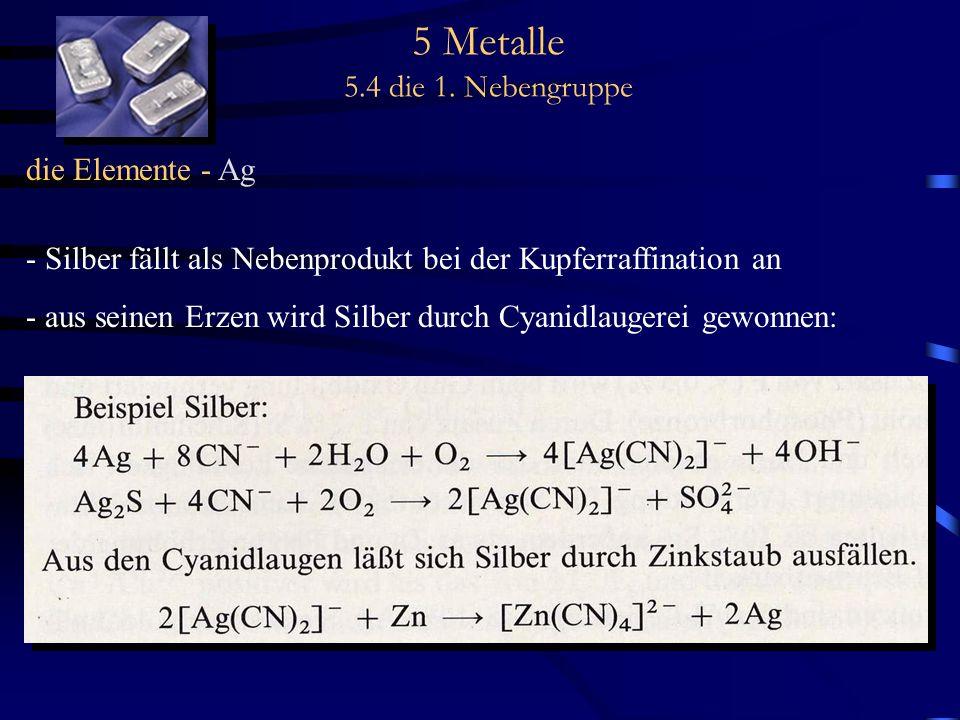 5 Metalle 5.4 die 1. Nebengruppe die Elemente - Ag - Silber fällt als Nebenprodukt bei der Kupferraffination an - aus seinen Erzen wird Silber durch C