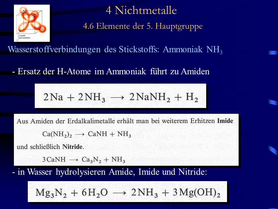 4 Nichtmetalle 4.6 Elemente der 5. Hauptgruppe Wasserstoffverbindungen des Stickstoffs: Ammoniak NH 3 - Ersatz der H-Atome im Ammoniak führt zu Amiden