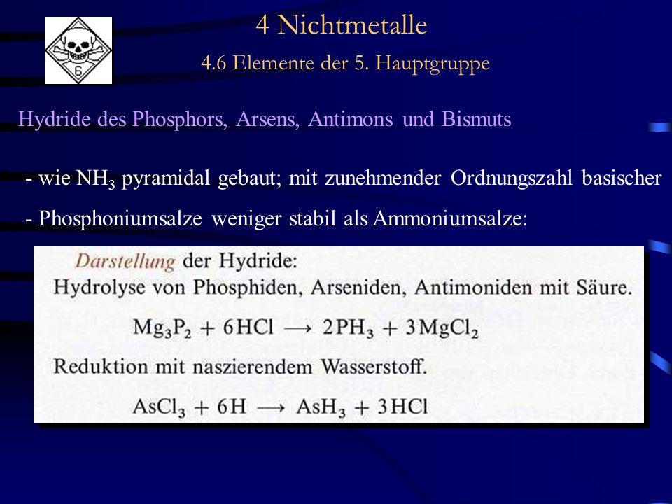 4 Nichtmetalle 4.6 Elemente der 5. Hauptgruppe Hydride des Phosphors, Arsens, Antimons und Bismuts - wie NH 3 pyramidal gebaut; mit zunehmender Ordnun