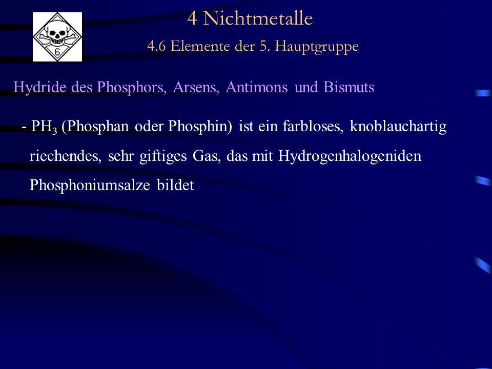 4 Nichtmetalle 4.6 Elemente der 5. Hauptgruppe Hydride des Phosphors, Arsens, Antimons und Bismuts - PH 3 (Phosphan oder Phosphin) ist ein farbloses,
