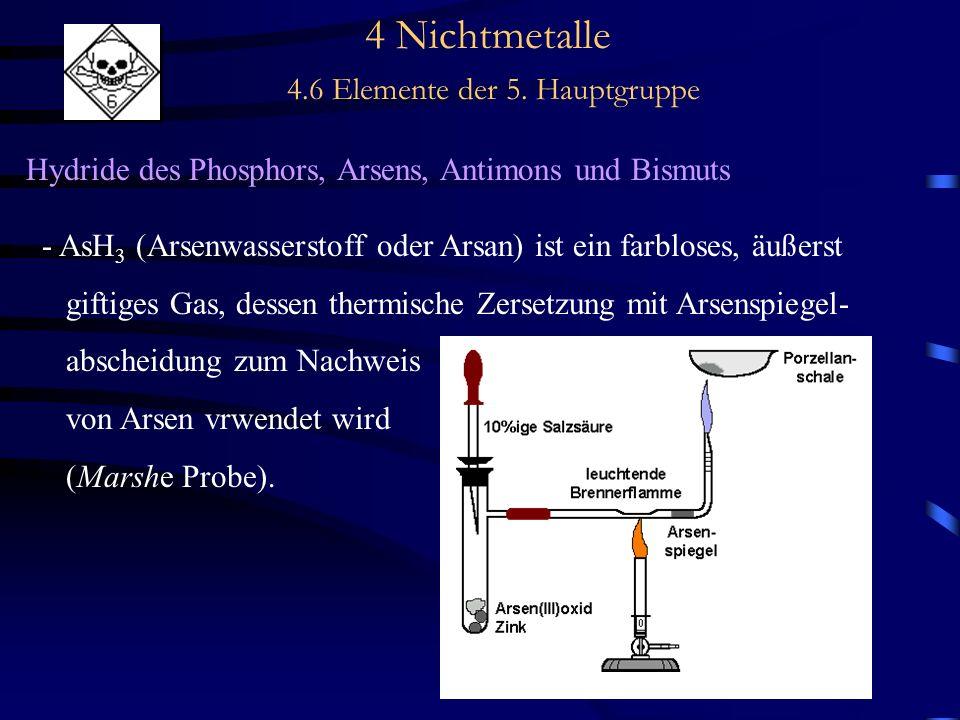4 Nichtmetalle 4.6 Elemente der 5. Hauptgruppe Hydride des Phosphors, Arsens, Antimons und Bismuts - AsH 3 (Arsenwasserstoff oder Arsan) ist ein farbl