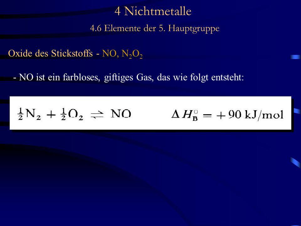 4 Nichtmetalle 4.6 Elemente der 5. Hauptgruppe Oxide des Stickstoffs - NO, N 2 O 2 - NO ist ein farbloses, giftiges Gas, das wie folgt entsteht: