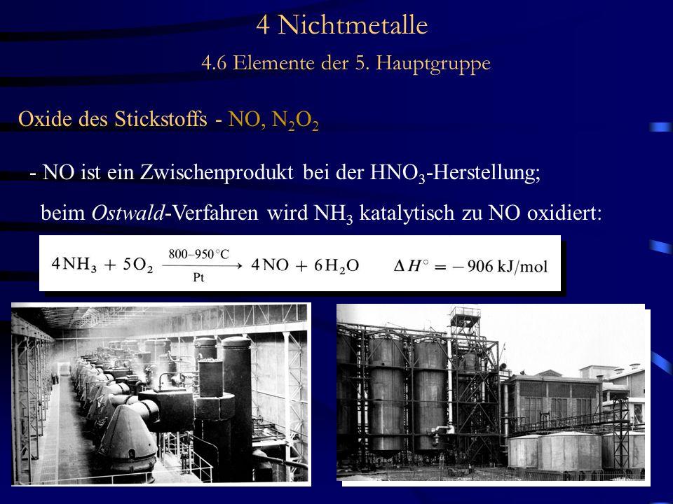 4 Nichtmetalle 4.6 Elemente der 5. Hauptgruppe Oxide des Stickstoffs - NO, N 2 O 2 - NO ist ein Zwischenprodukt bei der HNO 3 -Herstellung; beim Ostwa