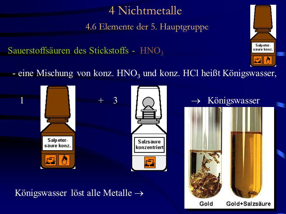 4 Nichtmetalle 4.6 Elemente der 5. Hauptgruppe Sauerstoffsäuren des Stickstoffs - HNO 3 - eine Mischung von konz. HNO 3 und konz. HCl heißt Königswass