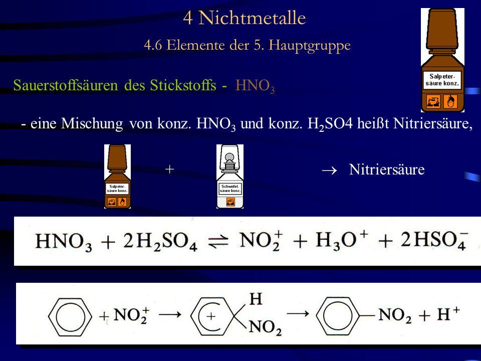 4 Nichtmetalle 4.6 Elemente der 5. Hauptgruppe Sauerstoffsäuren des Stickstoffs - HNO 3 - eine Mischung von konz. HNO 3 und konz. H 2 SO4 heißt Nitrie