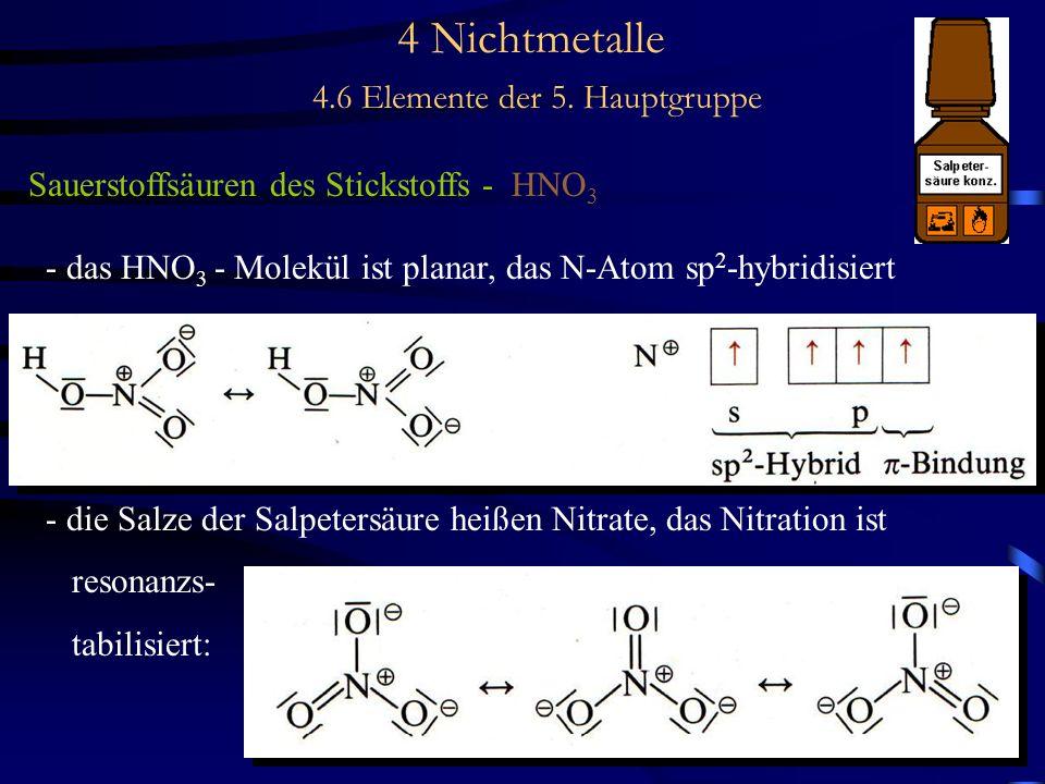 4 Nichtmetalle 4.6 Elemente der 5. Hauptgruppe Sauerstoffsäuren des Stickstoffs - HNO 3 - das HNO 3 - Molekül ist planar, das N-Atom sp 2 -hybridisier