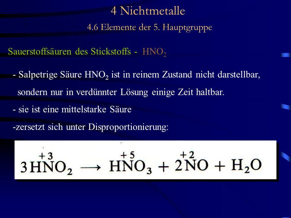 4 Nichtmetalle 4.6 Elemente der 5. Hauptgruppe Sauerstoffsäuren des Stickstoffs - HNO 2 - Salpetrige Säure HNO 2 ist in reinem Zustand nicht darstellb