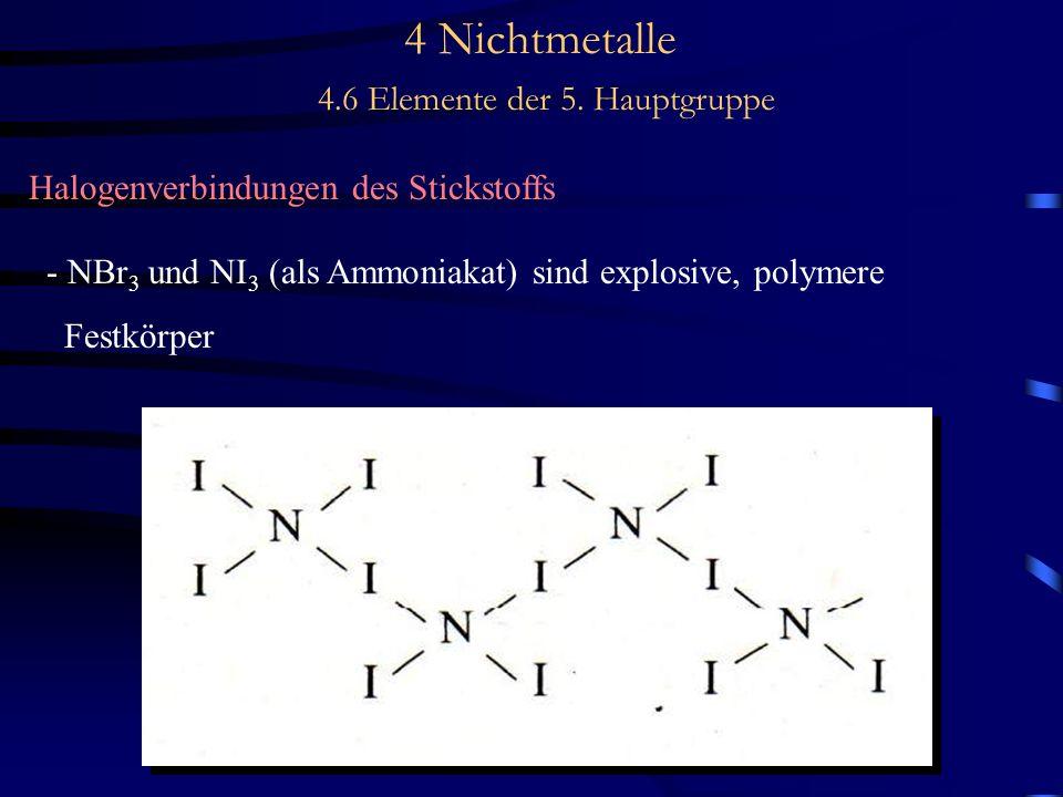 4 Nichtmetalle 4.6 Elemente der 5. Hauptgruppe Halogenverbindungen des Stickstoffs - NBr 3 und NI 3 (als Ammoniakat) sind explosive, polymere Festkörp