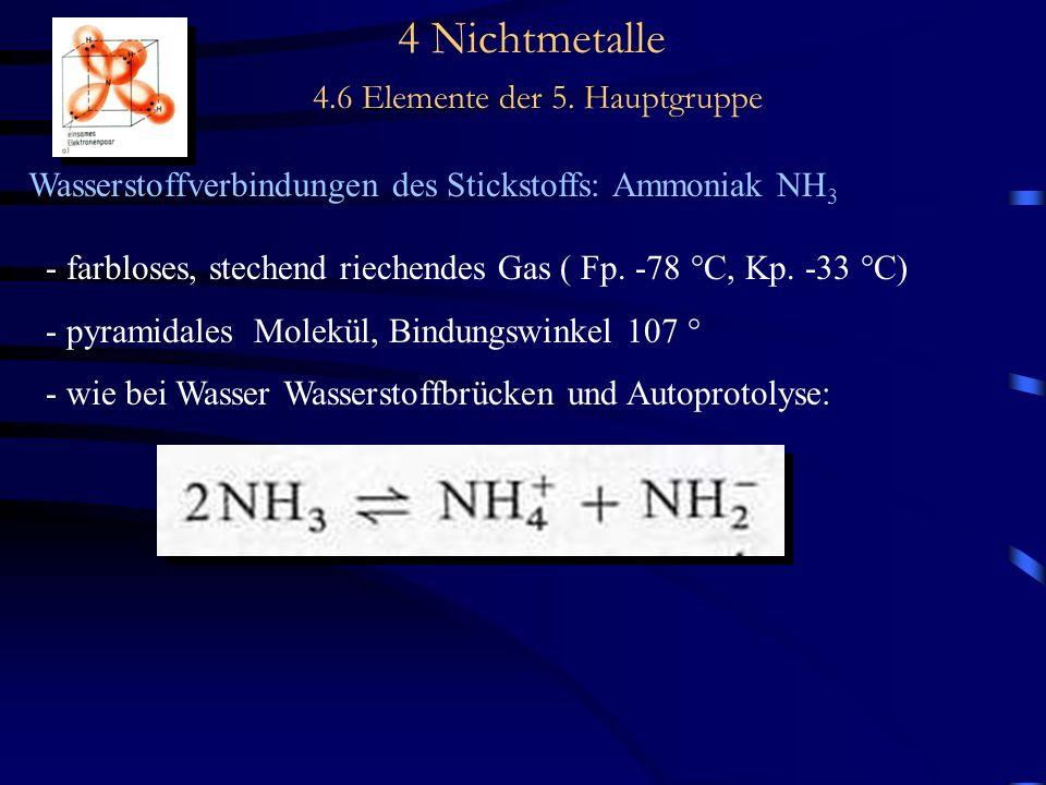 4 Nichtmetalle 4.6 Elemente der 5. Hauptgruppe Wasserstoffverbindungen des Stickstoffs: Ammoniak NH 3 - farbloses, stechend riechendes Gas ( Fp. -78 °