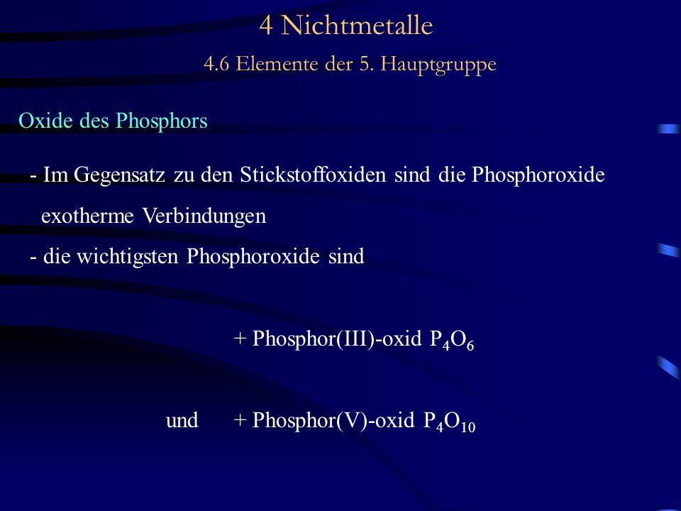 4 Nichtmetalle 4.6 Elemente der 5. Hauptgruppe Oxide des Phosphors - Im Gegensatz zu den Stickstoffoxiden sind die Phosphoroxide exotherme Verbindunge
