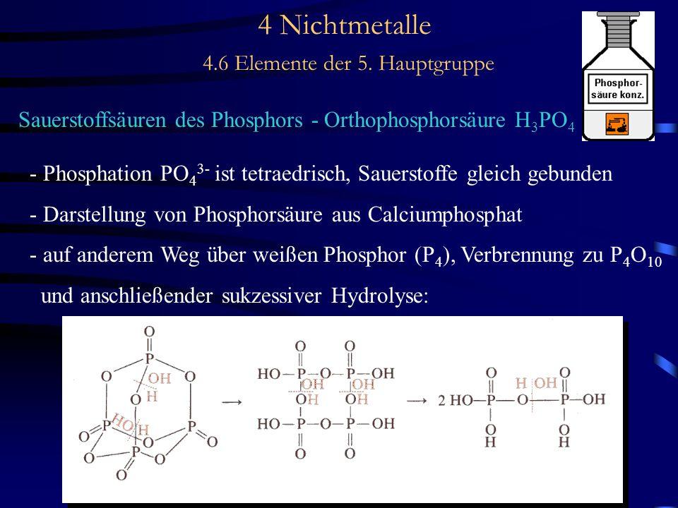 4 Nichtmetalle 4.6 Elemente der 5. Hauptgruppe Sauerstoffsäuren des Phosphors - Orthophosphorsäure H 3 PO 4 - Phosphation PO 4 3- ist tetraedrisch, Sa