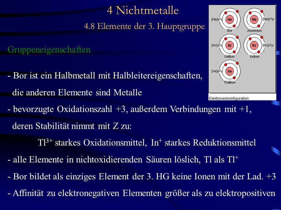 4 Nichtmetalle 4.8 Elemente der 3. Hauptgruppe Gruppeneigenschaften - Bor ist ein Halbmetall mit Halbleitereigenschaften, die anderen Elemente sind Me