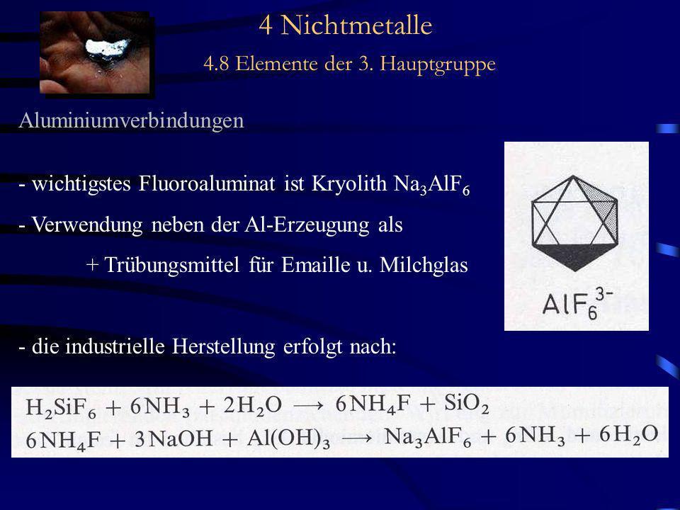 4 Nichtmetalle 4.8 Elemente der 3. Hauptgruppe Aluminiumverbindungen - wichtigstes Fluoroaluminat ist Kryolith Na 3 AlF 6 - Verwendung neben der Al-Er