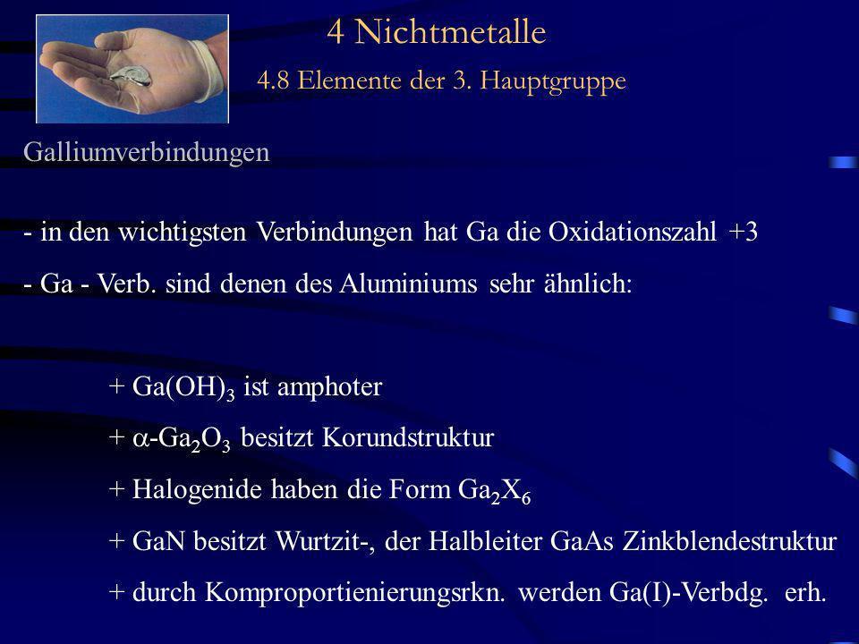 4 Nichtmetalle 4.8 Elemente der 3. Hauptgruppe Galliumverbindungen - in den wichtigsten Verbindungen hat Ga die Oxidationszahl +3 - Ga - Verb. sind de