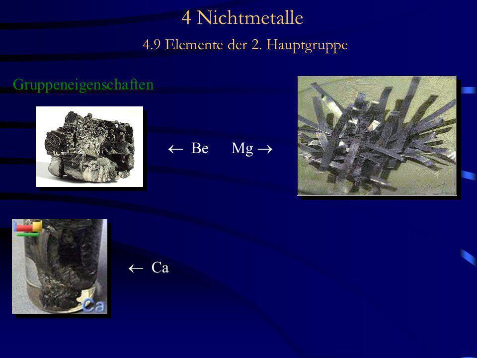 4 Nichtmetalle 4.9 Elemente der 2. Hauptgruppe Gruppeneigenschaften Be Mg Ca