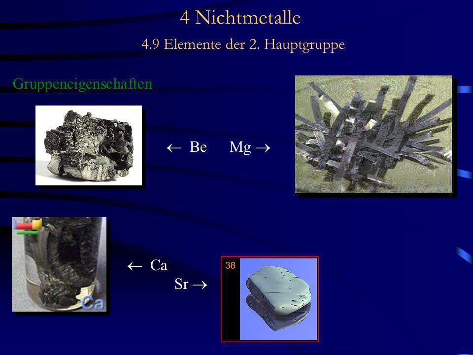 4 Nichtmetalle 4.9 Elemente der 2. Hauptgruppe Gruppeneigenschaften Be Mg Ca Sr