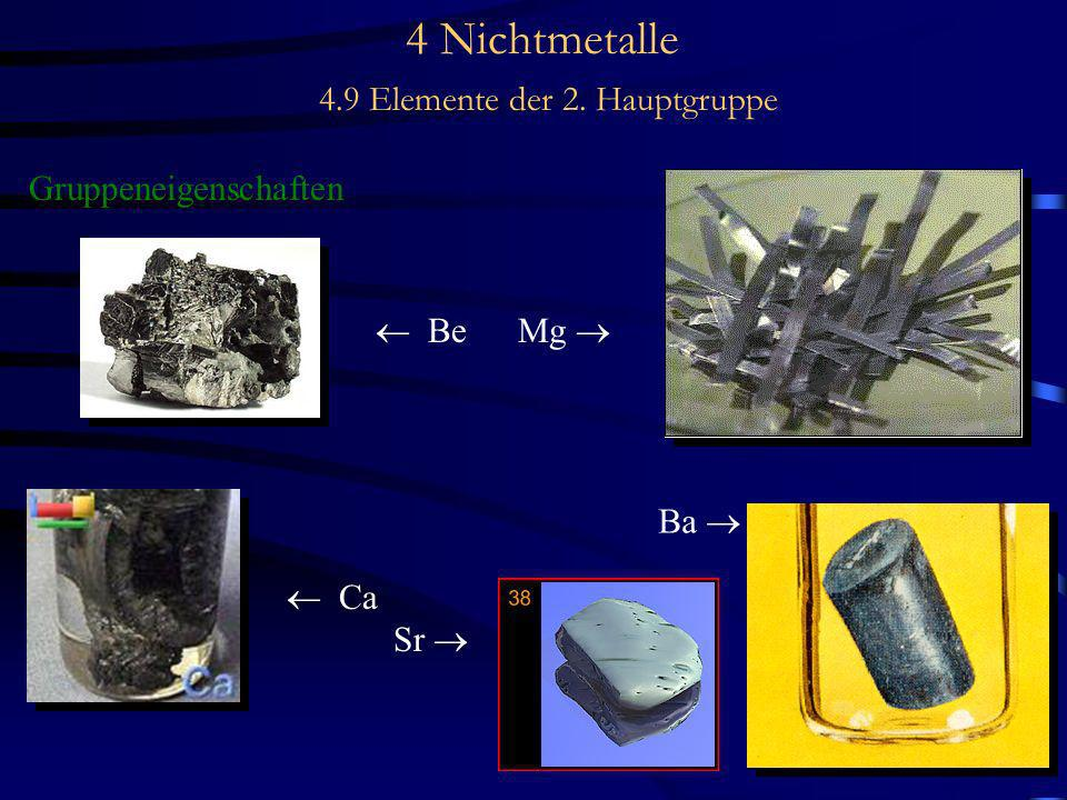 4 Nichtmetalle 4.9 Elemente der 2. Hauptgruppe Gruppeneigenschaften Be Mg Ca Sr Ba