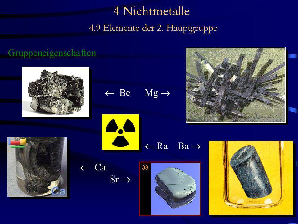 4 Nichtmetalle 4.9 Elemente der 2. Hauptgruppe Gruppeneigenschaften Be Mg Ca Sr Ra Ba